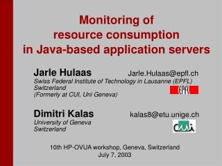 Monitoring of  resource consumption in Java-based application servers