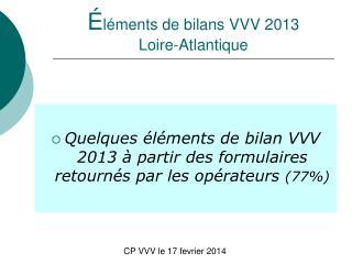 É léments de bilans VVV 2013 Loire-Atlantique