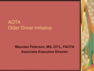 AOTA  Older Driver Initiative