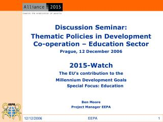 Discussion Seminar: Thematic Policies in Development Co-operation – Education Sector