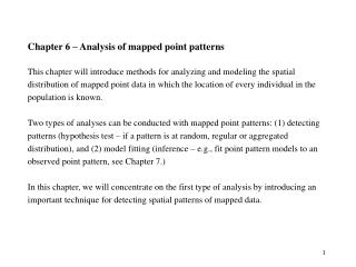 Chapter 6 – Analysis of mapped point patterns