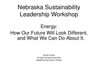 Nebraska Sustainability Leadership Workshop