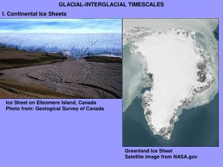 Ice Sheet on Ellesmere Island, Canada Photo from: Geological Survey of Canada