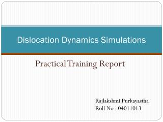 Dislocation Dynamics Simulations