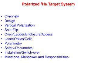Polarized  3 He Target System