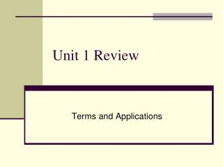 Unit 1 Review