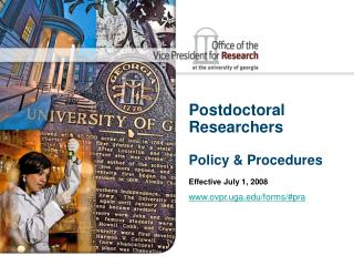 Postdoctoral Researchers  Policy & Procedures