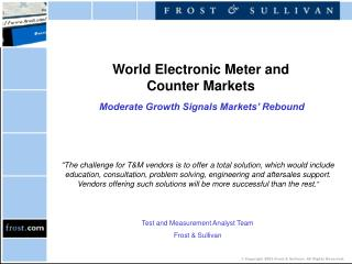 World Electronic Meter and  Counter Markets Moderate Growth Signals Markets' Rebound