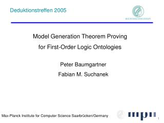 Model Generation Theorem Proving for First-Order Logic Ontologies