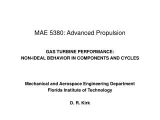 MAE 5380: Advanced Propulsion