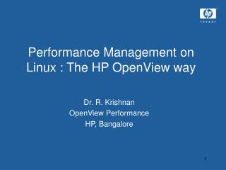 Performance Management on Linux : The HP OpenView way