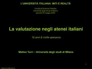 La valutazione negli atenei italiani
