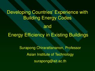 Developing Countries' Experience with Building Energy Codes  and