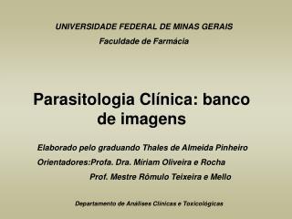 UNIVERSIDADE FEDERAL DE MINAS GERAIS Faculdade de Farmácia
