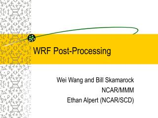 WRF Post-Processing
