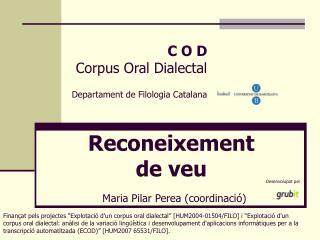 Rec o neixement  de veu Maria Pilar Perea (coordinació)