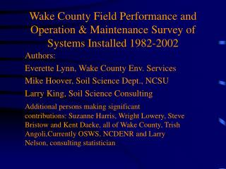 Wake County Field Performance and Operation & Maintenance Survey of  Systems Installed 1982-2002