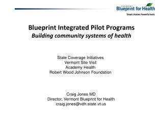 Blueprint Integrated Pilot Programs Building community systems of health