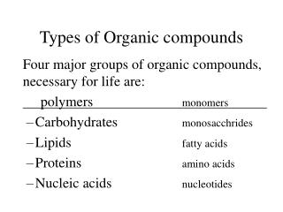 Types of Organic compounds