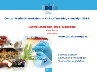Control Methods Workshop – Kick-off meeting campaign 2013