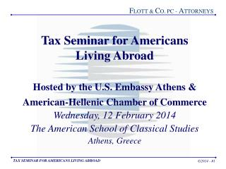 Tax Seminar for Americans Living Abroad Hosted by the U.S. Embassy Athens &