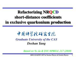 Refactorizing NR Q C D short-distance coefficients  in exclusive quarkonium production