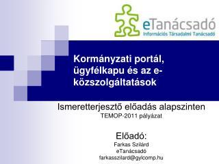 Kormányzati portál, ügyfélkapu és az e-közszolgáltatások