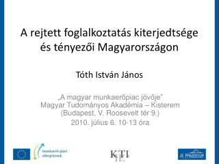 A rejtett foglalkoztatás kiterjedtsége és tényezői Magyarországon Tóth István János