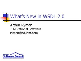 What's New in WSDL 2.0
