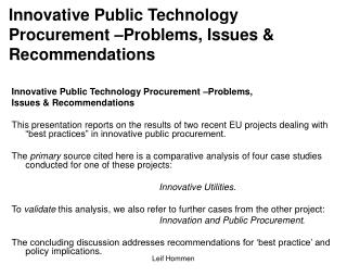 Innovative Public Technology Procurement  Problems, Issues  Recommendations
