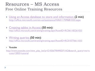 Resources – MS Access  Free Online Training Resources
