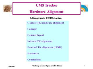 CMS Tracker  Hardware  Alignment