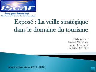 Exposé : La veille stratégique dans le domaine du tourisme