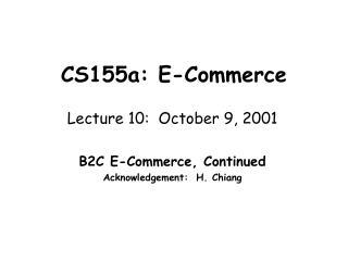 CS155a: E-Commerce
