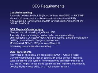OES Requirements