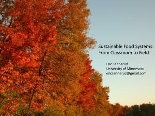 Sustainable Food Systems: From Classroom to Field