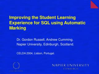 Improving the Student Learning Experience for SQL using Automatic Marking