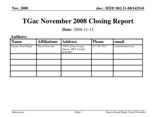 TGac November 2008 Closing Report