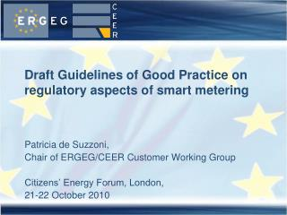 Draft Guidelines of Good Practice on regulatory aspects of smart metering