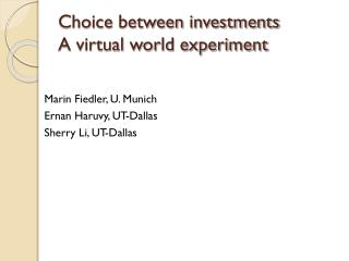 Choice between investments A virtual world experiment