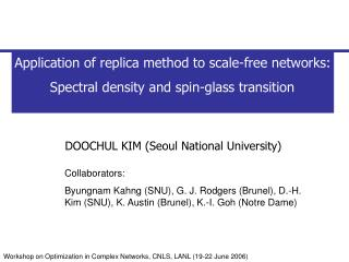 Application of replica method to scale-free networks:  Spectral density and spin-glass transition