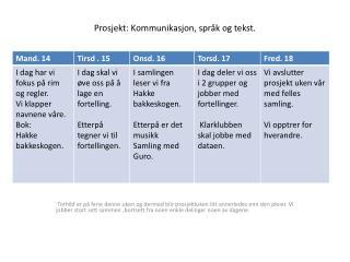 Prosjekt: Kommunikasjon, språk og tekst.