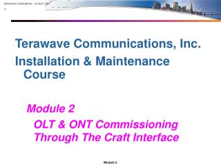 Terawave Communications, Inc. Installation & Maintenance Course Module 2