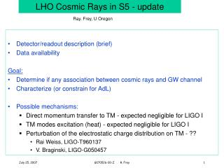 LHO Cosmic Rays in S5 - update