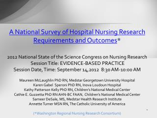 A National Survey of Hospital Nursing Research Requirements and Outcomes *
