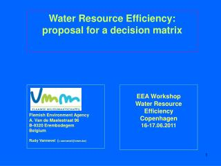 EEA Workshop Water Resource Efficiency Copenhagen 16-17.06.2011