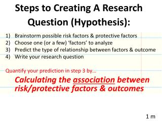 Steps to Creating A Research Question (Hypothesis):