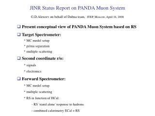 Present conceptual view of PANDA Muon System based on RS  Target Spectrometer: