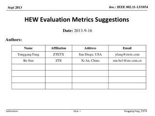 HEW Evaluation Metrics Suggestions