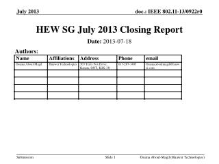 HEW SG July 2013 Closing Report